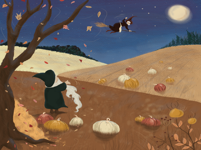Halloween photoshop illustration childrens illustration kidlitart fairytale folktale fall wizard whitch halloween