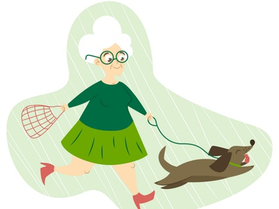 Cheerful smiling grandma walking with cute funny dog funny flat design granny character people illustration vector happy green sticker woman old smile walking animal pet dog grandmother grandma