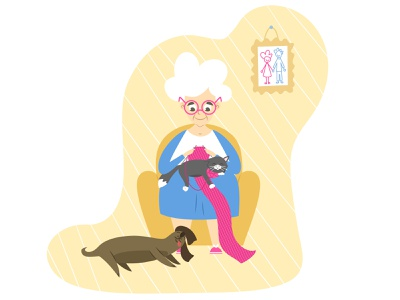 Grandma knits in the company of her cat and dog rest hobby pet vector illustration funny grandma grandmother granny cat dog design flat character animal