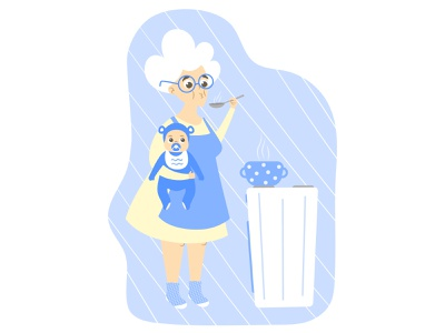 Grandma and baby are cooking kitchen cooking baby character funny design flat vector illustration granny grandmother grandma