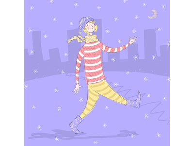 Happy boy on a winter night doodle illustraion vector city happy snow winter night christmas boy character