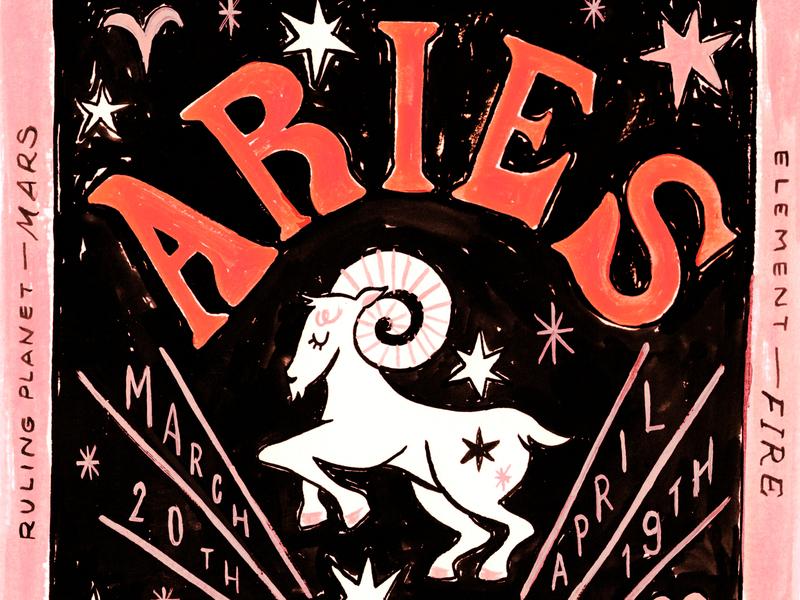 Aries design horoscopes typography illustration