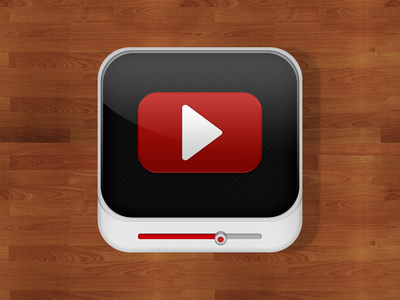 YouTube Icon youtube video app icon iphone ios wood red play movie time free download zip