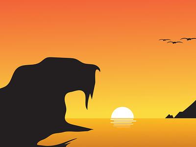 Evening Sunset Beach animals natureboy backgrounds beach suns sunset vectors vector illustration design characterdesign