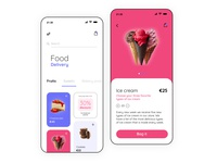 Mobile application - Delivery app pink delivery service taisty food minimal shop product page product interface delivery food delivery application food delivery app app ux ios ui