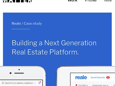 Launching very soon! web site branding logo iphone ipad mobile responsive website blue realo matter