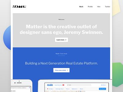 🎉 Made by Matter 🎉 portfolio ipad iphone mobile responsive website webdesign blue realo matter