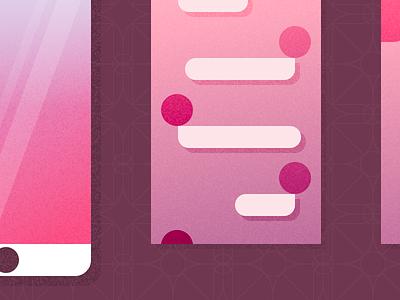 Illustrated Views interface views phone gradient texture material minimal simple ui illustration