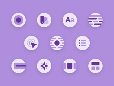 Pattern Library - Iconography glyph icon small patterns style guide web illustrations simple purple icons