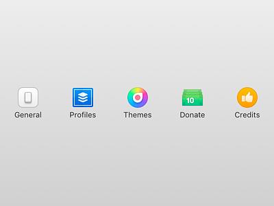 Hocus Focus 2 - Settings Icons detail colour mac toolbar icon iconography app macos icons