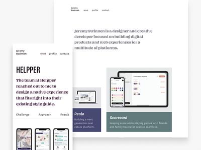 New Portfolio: Jeremy Swinnen typography layout web site simple mobile clean portfolio website