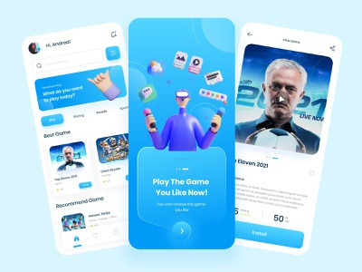 Game Store - Mobile App mobile app 3d game application games app uiux design trendui mobile app game store game store app 3d mobile app design uiux clean ui uidesign