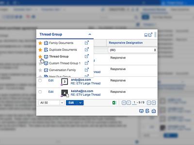 Favoriting UI product favorites icons tabular data ui web app