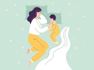 Vector mom and baby are sleeping family bed stars sleeping sleep dream son child motherhood mother illustration happy baby woman vector people girl flat