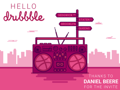 Hello Dribbble staten island sedgwick avenue queens brooklyn nyc new york city scape hip hop hiphop boom box boombox hello dribbble vector illustration design