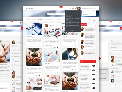 VitaminT ui menu interface clean web google ux site social flat 3d fold