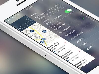 CzechSpecials iphone app filter food menu ui ux interface side design czech restaurant