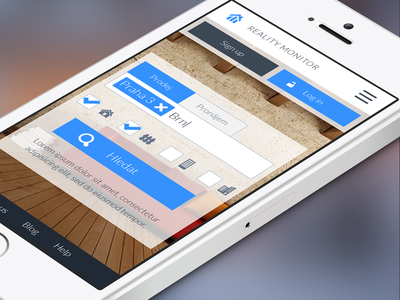 Reality Monitor Mobile ui ux interface clean menu flat search design iphone mobile interaction reality