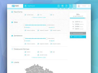Merk ui ux web flat business search interface menu czech filter bigdata site