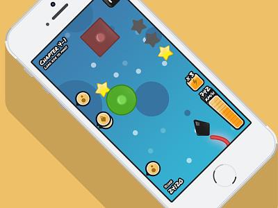 Insane ui ux mobile game rocket space flat design iphone interface app fun