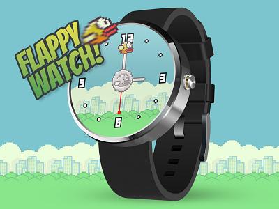 Flappy watch! watch face ui clock flappy bird concept fun mockup design interface user interface