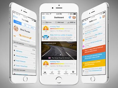Virtual Training iOS9 dashboard visual interaction mobile iphone design clean app flat ux ui interface