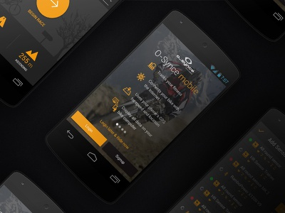 O-Synce App dark intro mobile material app user interface android mockup design ux ui interface