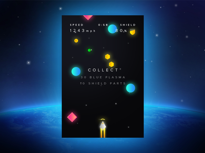 Space rocket concept shuttle space ios game mobile design app ux ui interface