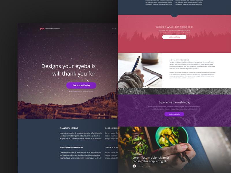 Pex - Free PSD Template mockup free download design photoshop ui web design