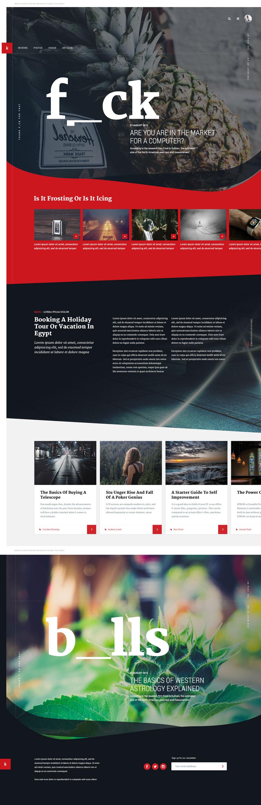 Magazine layout website template