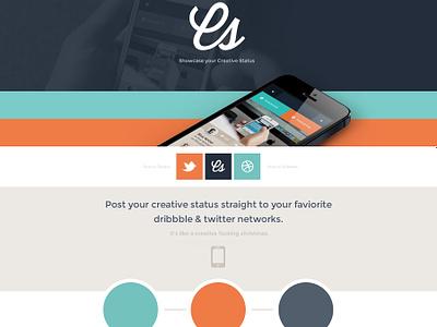 Creative Status Single Page Site mobile web ui psd flat creative creative status web design website design