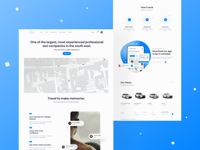 Taxi Company - Landing Page webapp blue app taxi ui landing page