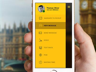 Cabdespatch Iphone Version iphone app menu clean simple yellow ios