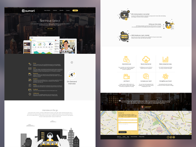 Sumari Homepage website flat yellow interface ui web interview platform web design
