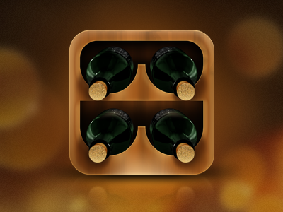 Wine Cellar Management App Icon app app icon ios ipad iphone wine wood bottles