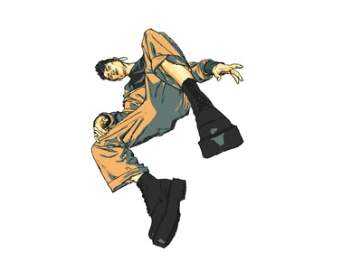 Fluid gender comic style poster art character design illustration
