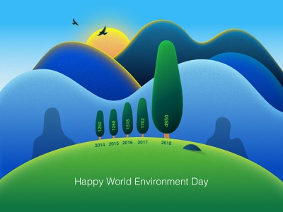 Happy World Environment Day! infographic infography vector illustration hill mountain tree lanscape environment