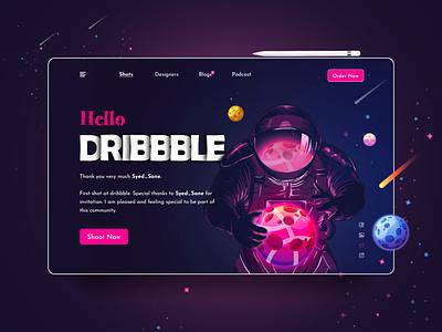 Hello Dribbble !! art minimal website ux header design design web hello dribbble landingpage illustration ui