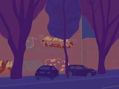 Night in Chisinau artist art digital illustration digital art digital illustration procreate procreateart apple pencil ipad pro city purple violet blue night chisinau