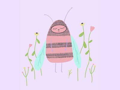 Emo bee 🐝 cute artist digital illustration digital art digital illustration art procreateart procreate ipad pro apple pencil insect apis honeybee purple violet pastel pink bee pink bee