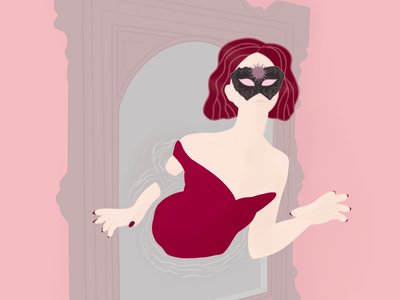 Incognito in a mirror mystery incognito mask red mirror pink girl art illustration digital art digital illustration ipad apple pencil procreateart procreate