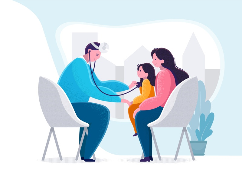 Pediatric checkup illustration with little girl and doctor.