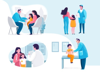 Pediatric Checkup illustration in flat style. scene modern textured procreate vector checkup pediatric adobe illustrator illustartion hospital girl flat dots doctor design clinic child 2d