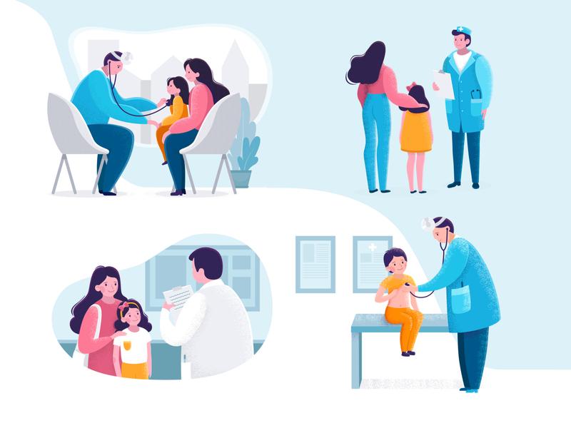 Pediatric Checkup illustration in flat style.