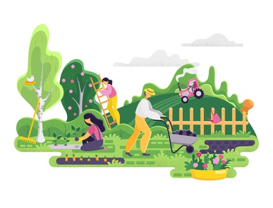 Gardening people. Spring landscape in flat style. Vector.