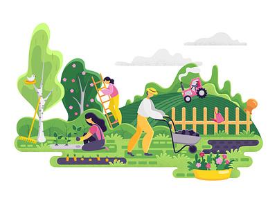 Gardening people. Spring landscape in flat style. Vector. textured style gardening vector landscape people garden adobe illustrator illustartion flat design 2d