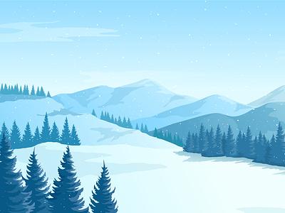 Winter landscape with mountains. art background panorama flat style flatdesign winter mountains mountaint landscape illustration adobe illustrator vector illustartion flat 2d
