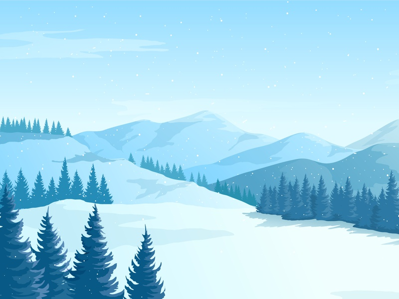 Winter landscape with mountains.