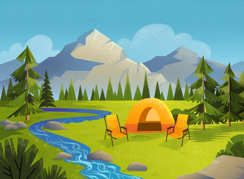 Camping illustration with mountains landscape.