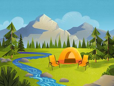Camping illustration with mountains landscape. trendy textured dots design adobe illustrator flat flat style flat  design cartoon spring summer background landscape art 2d illustrator camping vector